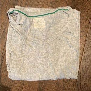 Men's grey Lacoste v neck tag less high quality